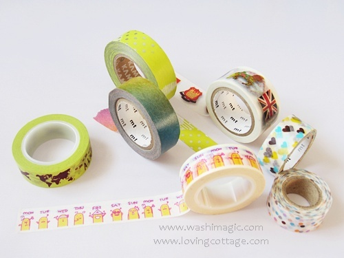 Displaying some different washi tapes