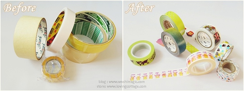 Before and after masking tape examples