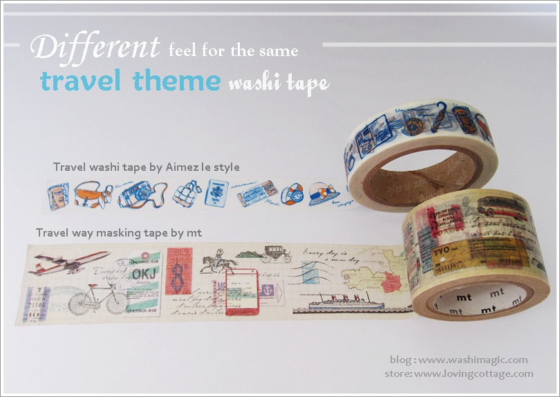 Different travel themed washi tapes | More details about various types of washi tapes