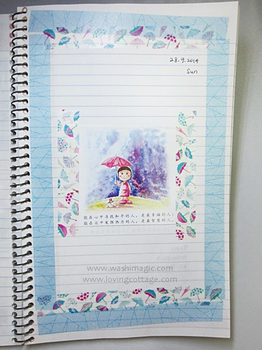 Lovely umbrella washi tape journal