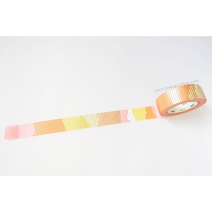 Pink and orange collage patterned tape