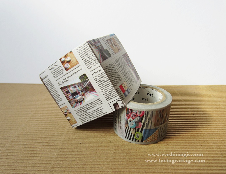 Use newspaper washi tape to make a box