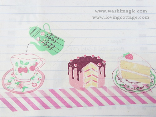 A close-up of Aimez tea and cake washi tape