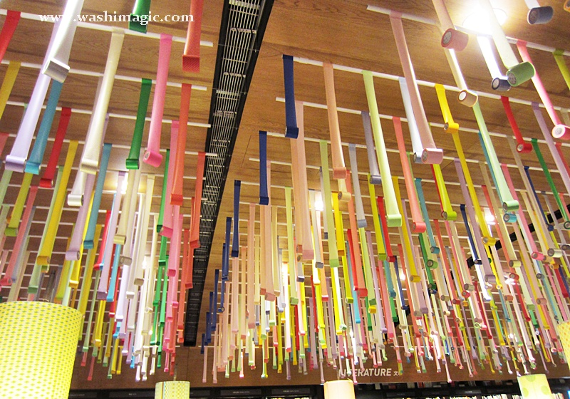 Hanging washi tapes from the ceiling