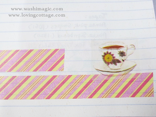 Delicate tea cup and unique washi tape stripe