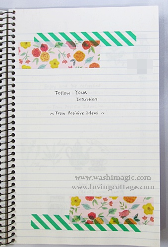 Floral masking tape in journal