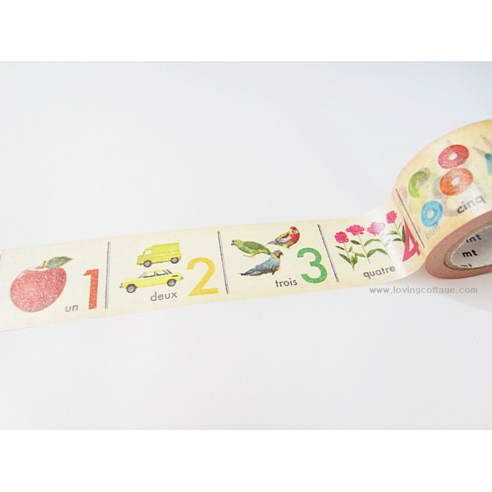 Colorful number washi adhesive tape