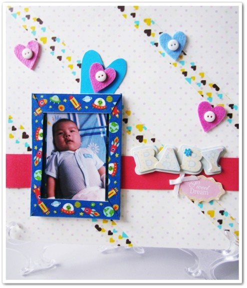 Unique baby scrapbook page