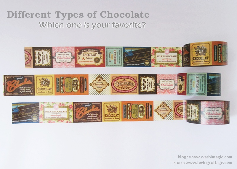 Various chocolate labels in a deco tape