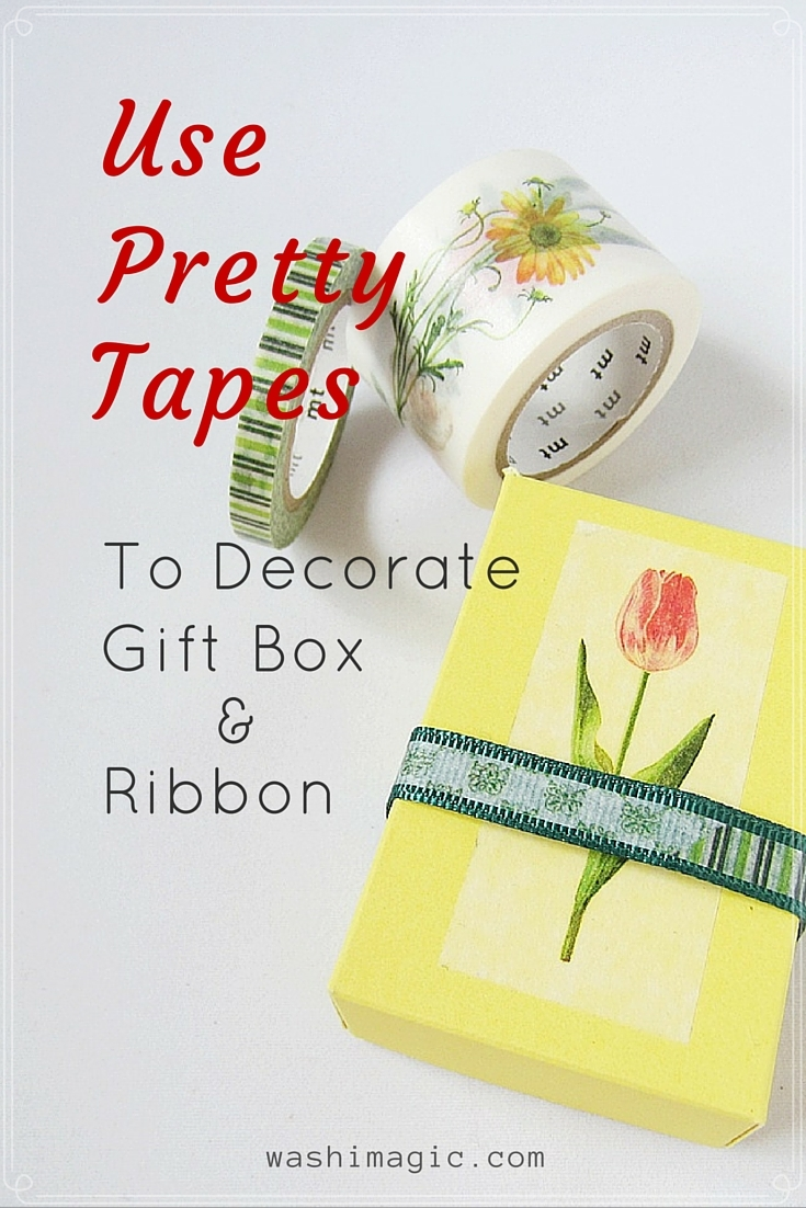 Washi tape gift box and ribbon