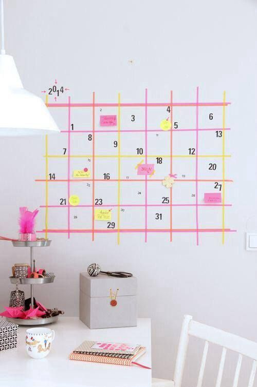 Make a huge washi tape wall calendar