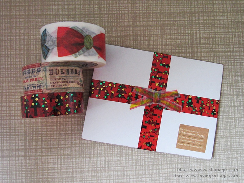 Christmas themed washi tape envelope