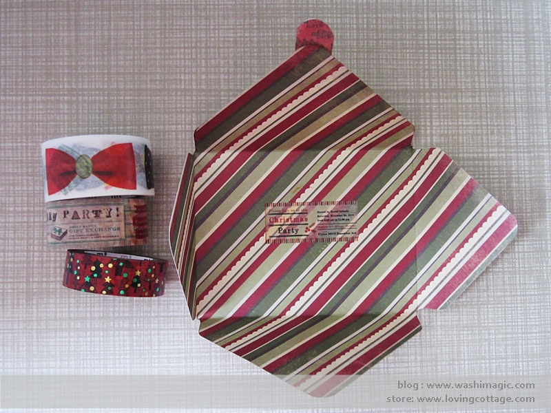 Christmas and ribbon washi tape envelope