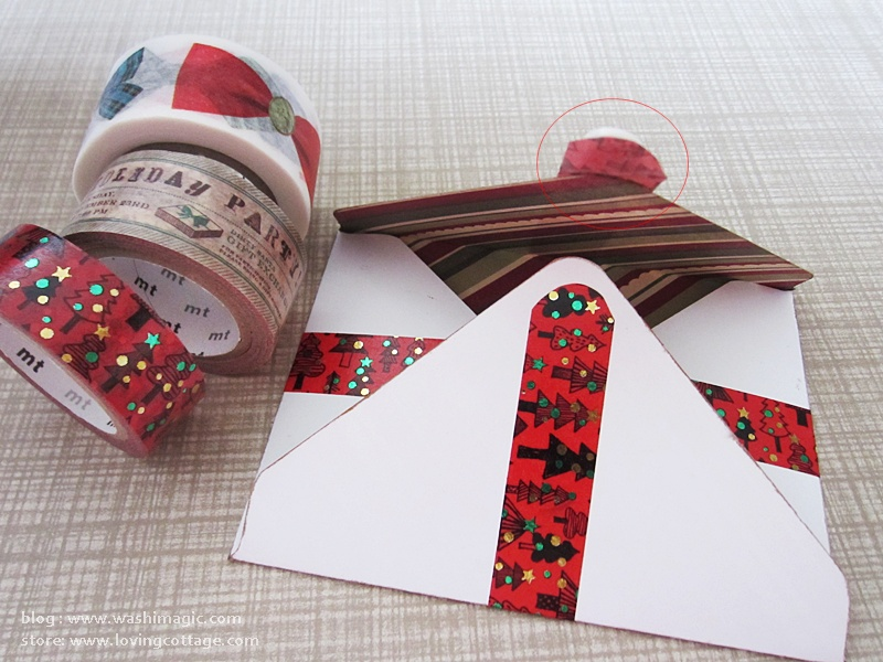 How to position red washi tape on the envelope