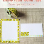Cute smiley faces washi tape envelope and letter