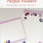 Mysterious purple flowers envelope letter pattern