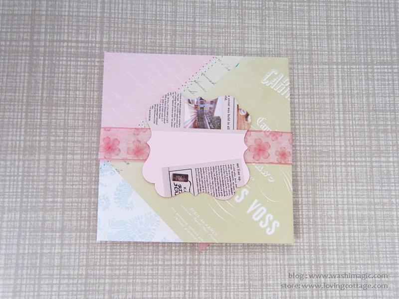 Pink floral ribbon envelope design