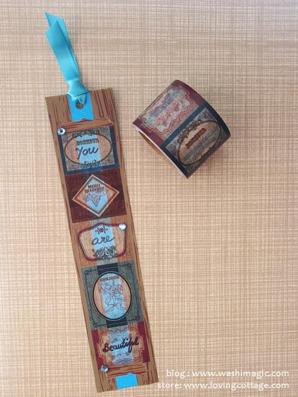 Diy vintage label bookmark on blue cardstock