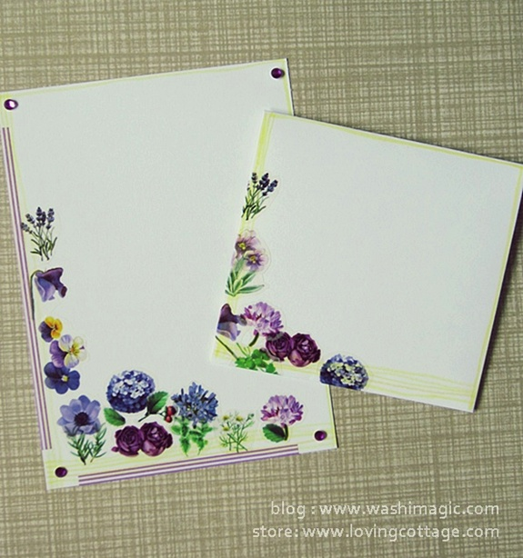 Purple flowers masking tape on yellow lines snail mail