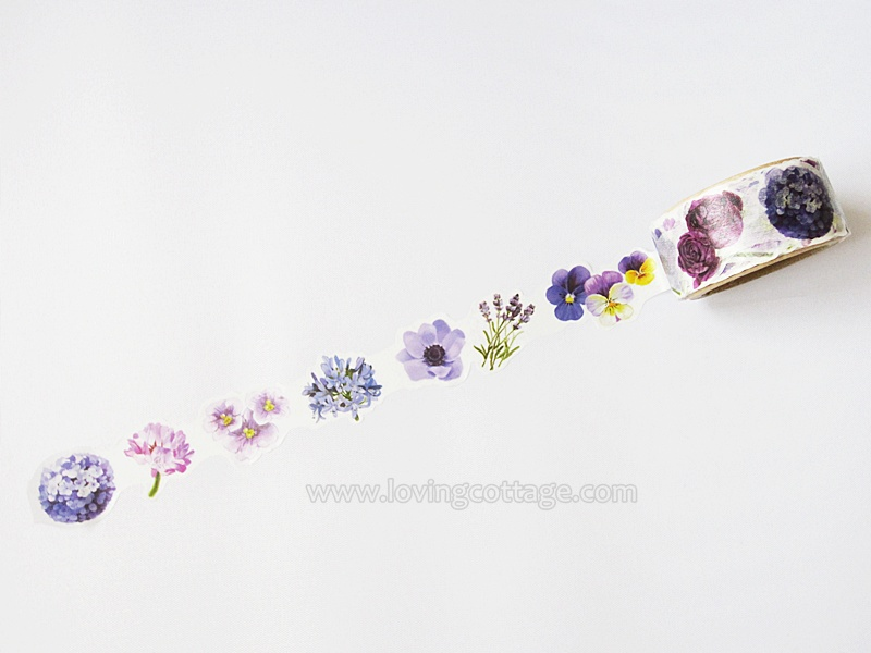 Yano Design purple flowers washi tape