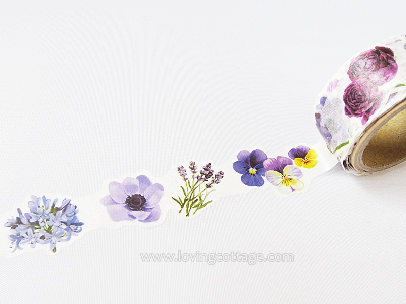 Beautiful floral deco tape in violet