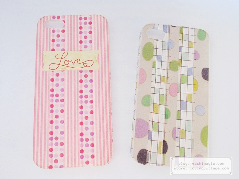 DIY washi tape phone cases