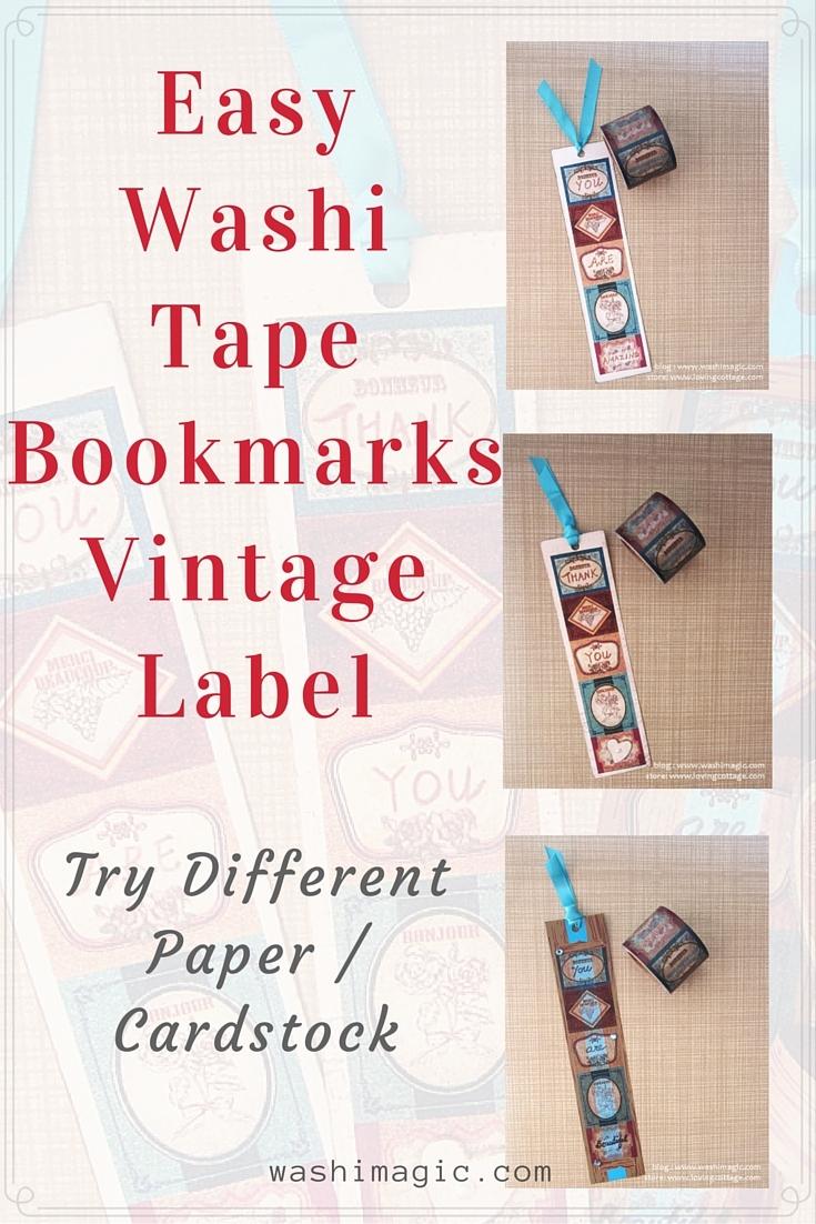 Easy washi tape bookmarks vintage label