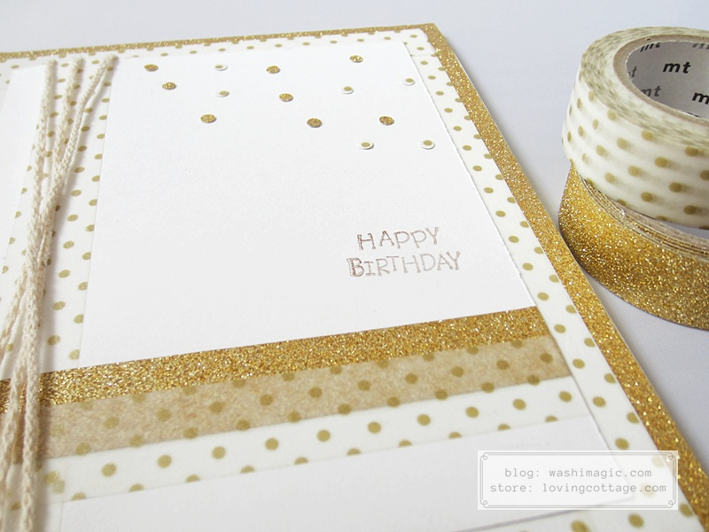 Shining birthday card using gold color washi tapes | Washimagic.com