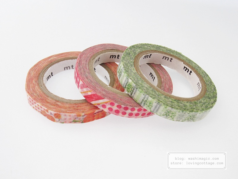 mt slim pink green orange masking tape MTSLIM19 | Washimagic.com