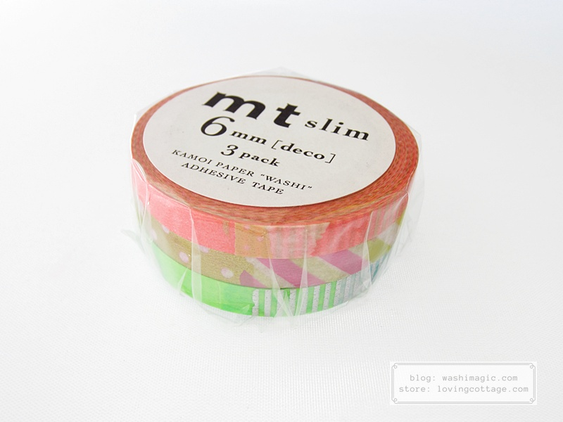 mt slim orange pink green washi tape MTSLIM20 | Washimagic.com