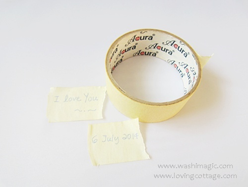 Write on a yellow paper tape