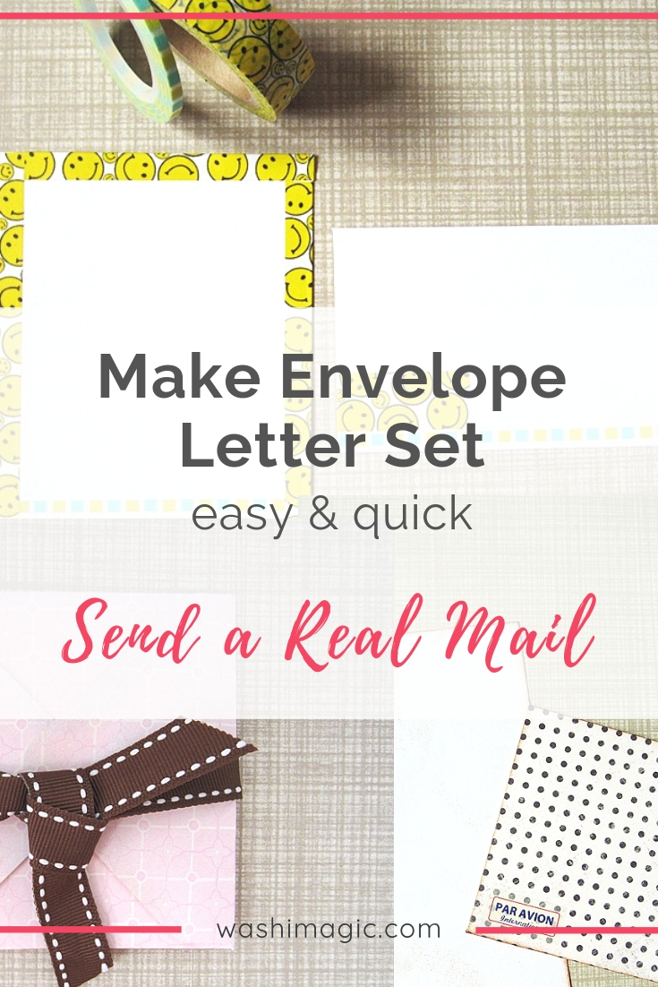 Make envelope letter set easy & quick using washi tapes - send a real mail | snail mail series | Washimagic.com