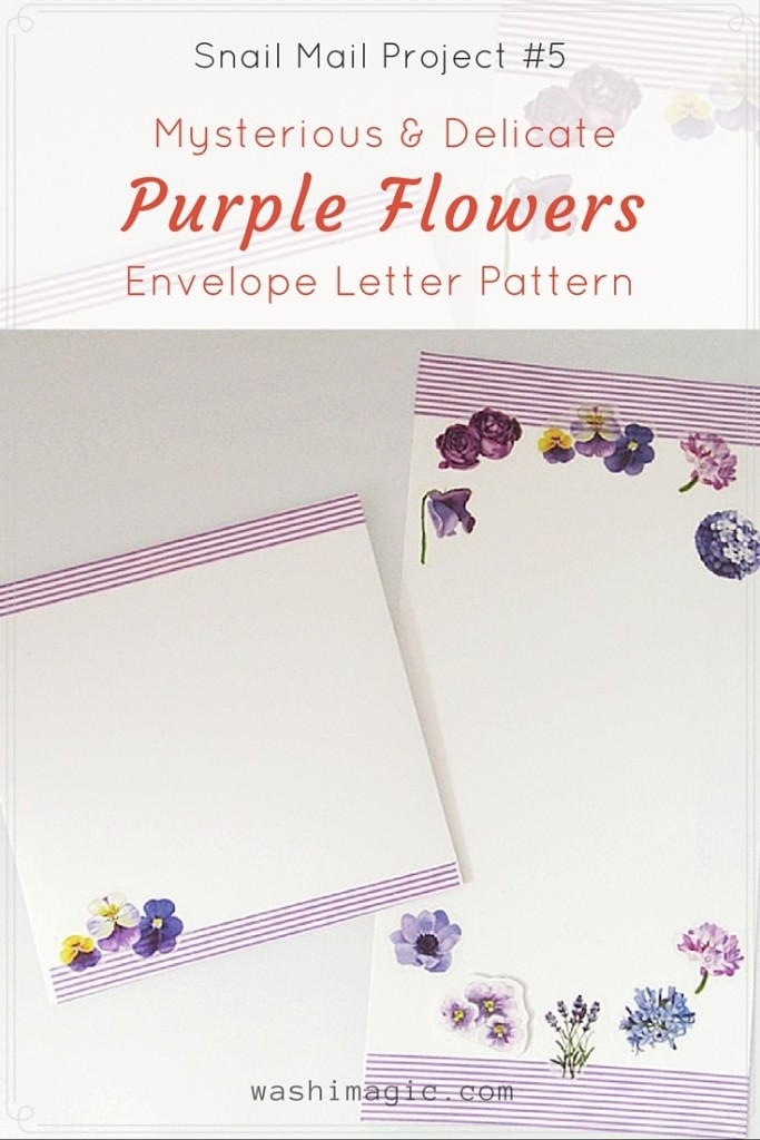 Snail Mail Project #5: Mysterious Purple Flowers Envelope Letter Pattern