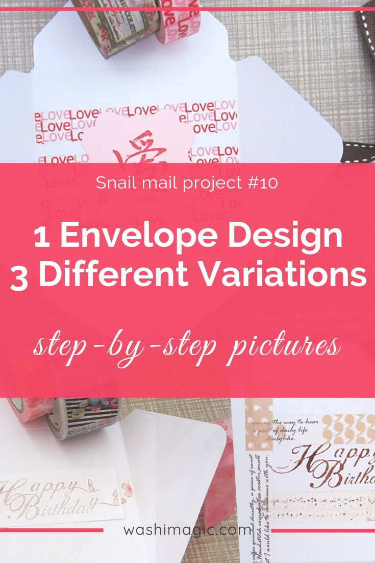 Snail mail 10 turn 1 envelope design into 3 different variations envelope letter set | unique cute washi tape | decorative pretty tapes | Washimagic.com