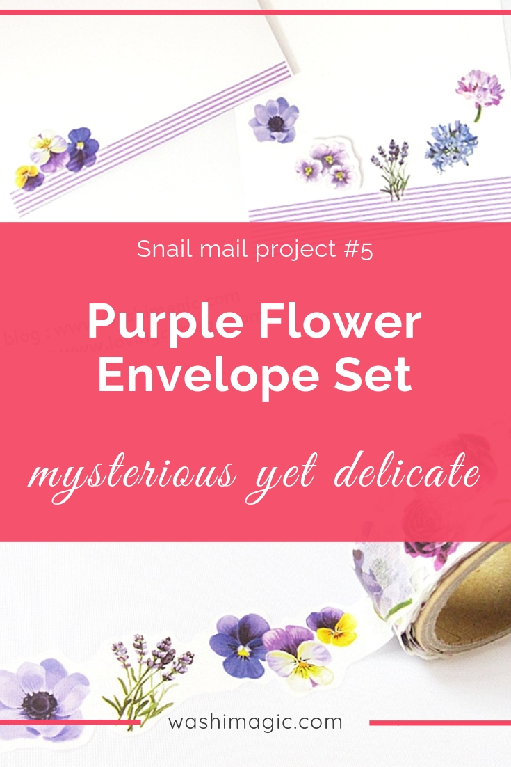 Snail mail 5 mysterious yet delicate purple flowers envelope letter set | beautiful floral washi tape | Washimagic.com