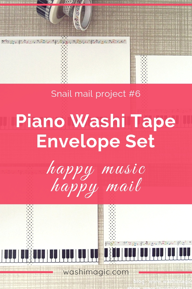 Snail mail 6 piano washi tape envelope letter set | happy music, happy mail | music deco tape | unique crafts ideas | WashiMagic.com