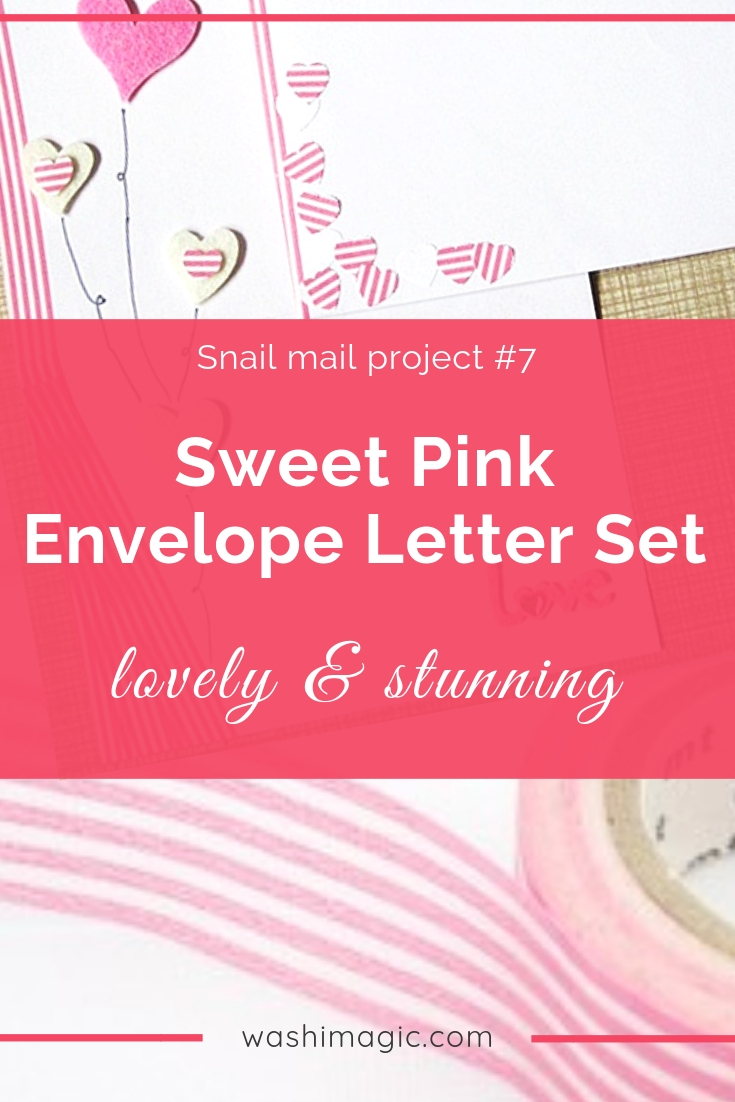 Snail mail 7 super sweet and lovely pink washi tape envelope letter set | mt masking tape | snail mail DIY ideas | Washimagic.com