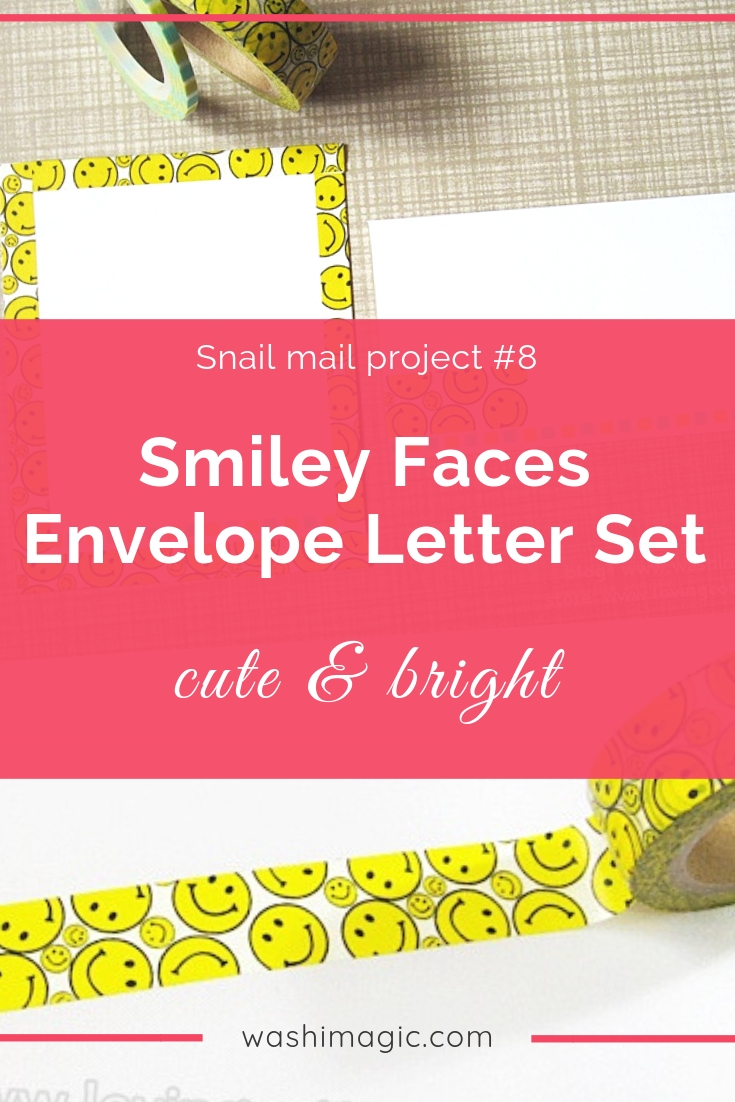 Snail mail 8 cute & bright smiley faces washi tape envelope set | yellow washi tape | washi tape ideas | Washimagic.com