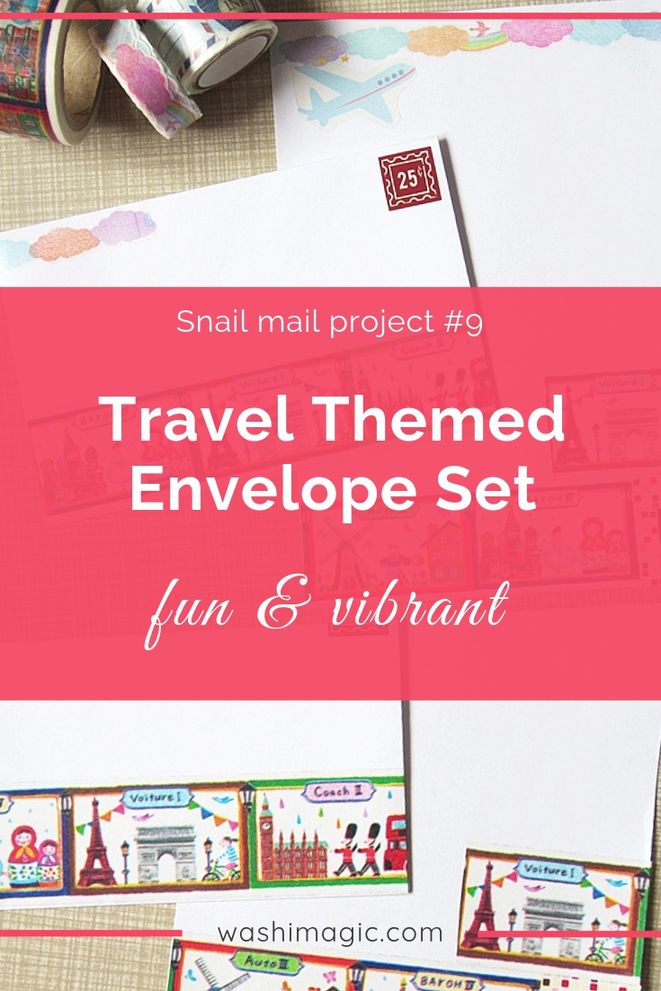 Snail mail 9 fun and vibrant travel washi tape envelope letter set | travel themed deco tape | DIY cute snail mail ideas | Washimagic.com