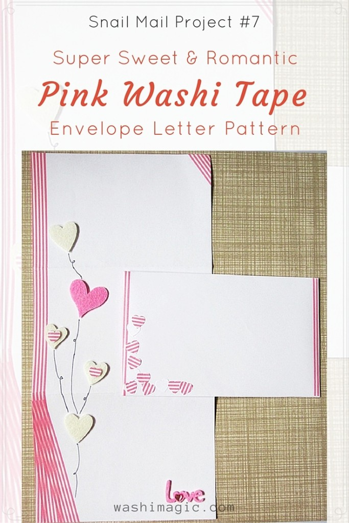 Snail Mail Project #7: Sweet Pink Washi Tape Envelope Letter Pattern