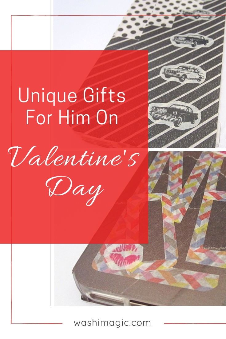 Unique gifts for him on valentine's day | valentine's day gifts for boyfriend or husband | DIY gifts for him | washi tape crafts ideas | Washimagic.com