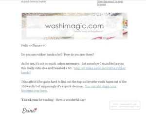 Email newsletter sample at Washimagic.com