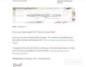 Email newsletter sample at Washimagic.com