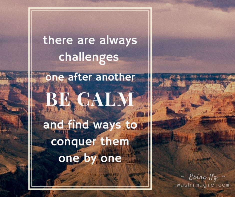 Encouraging words, inspirational quotes - There are always challenges one after another, be calm, and find ways to conquer them one by one | Washimagic.com