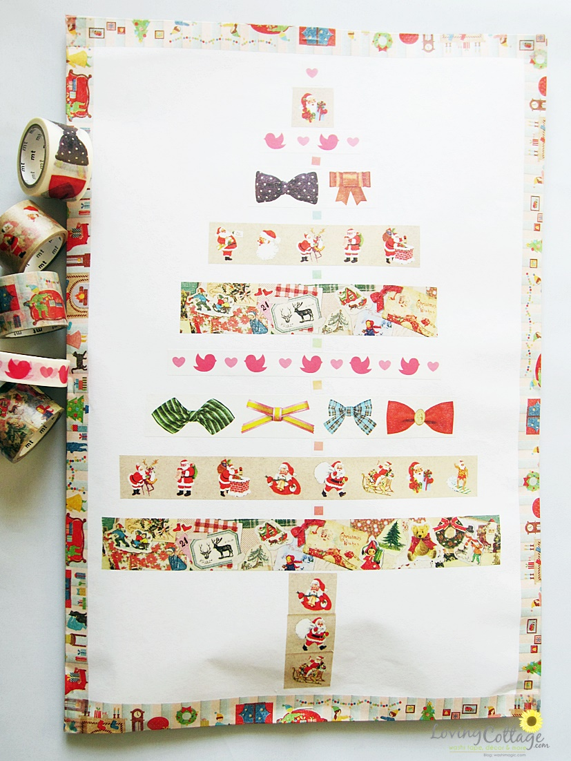 Christmas gift wrap for kids using drawing papers from a sketchbook and some washi tapes | Washimagic.com