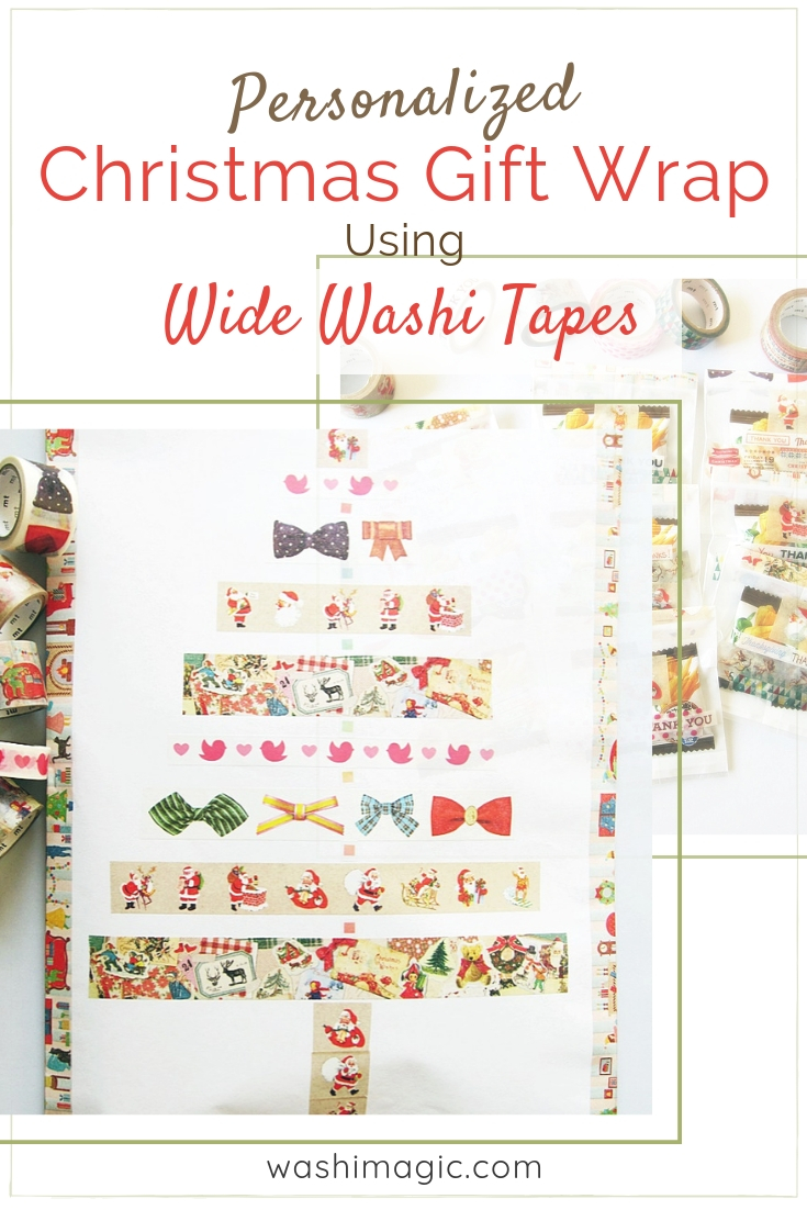 Personalized Christmas Gift Wrap Using Wide Washi Tapes