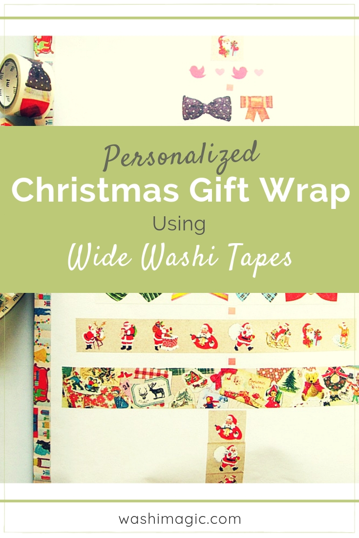 Personalized Christmas gift wrap using wide washi tapes. It's easy, quick and budget-friendly too | Washimagic.com