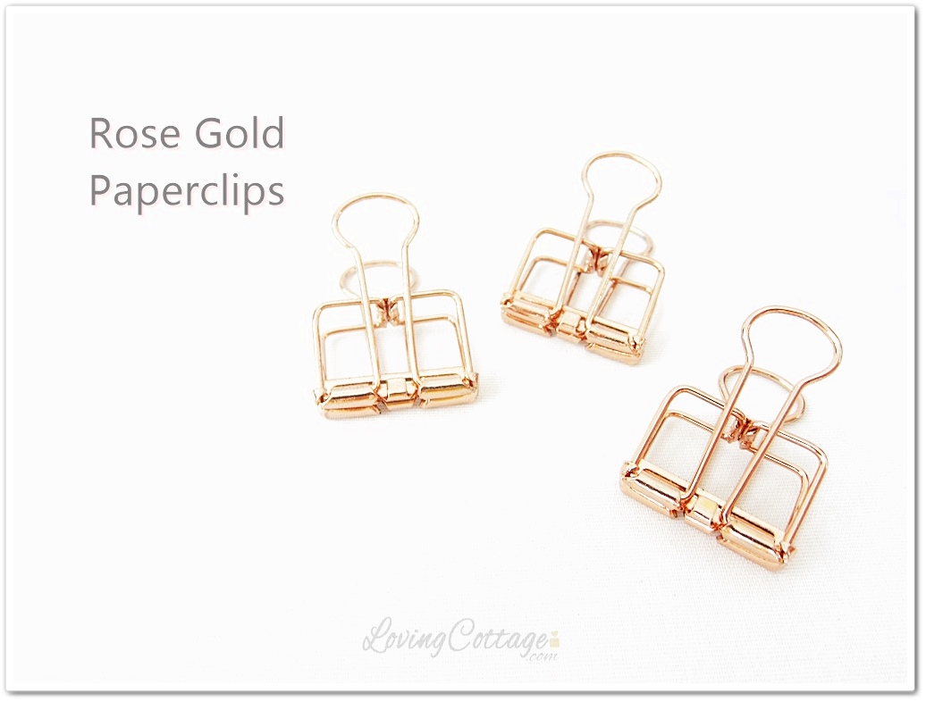 Rose gold paperclips, planner clips, binder clips, elegant clips at lovingcottage.com shop | Washimagic.com