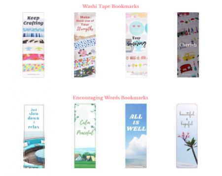 Free washi tape bookmark printables | Free encouraging words bookmark printable | Available at free resources library | Washimagic.com