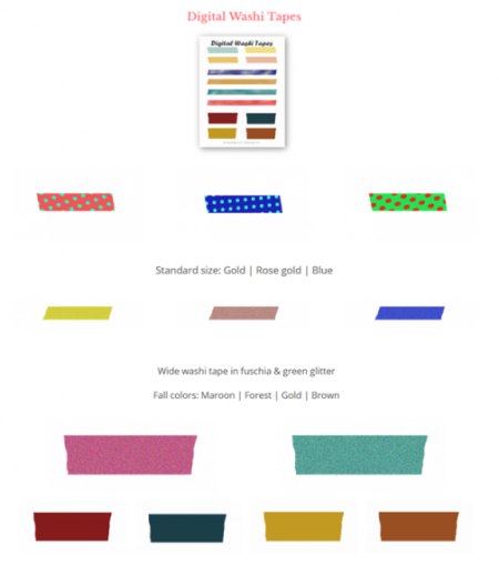 A little preview of what you'll be getting inside the freebies library | Free digital washi tapes - fall colors, pastel, glitter etc | Washimagic.com